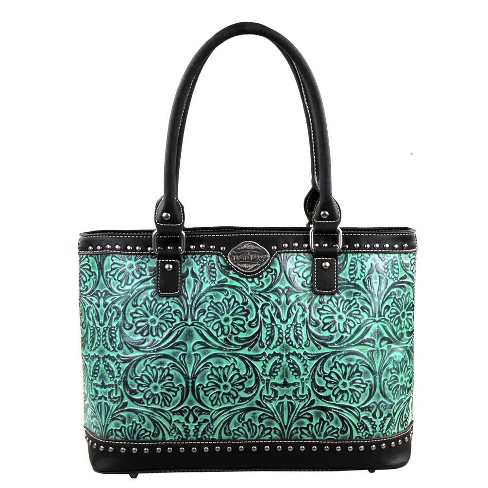Genuine Leather Tooled Turquoise Tote