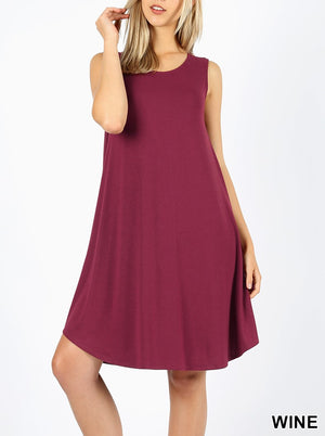 Tessie Scoop Neck Tank Swing Dress with Pockets