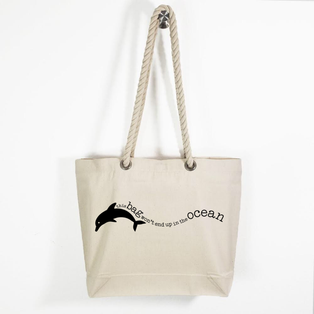 Canvas Rope Handle Tote Bag: EnviroDolphin