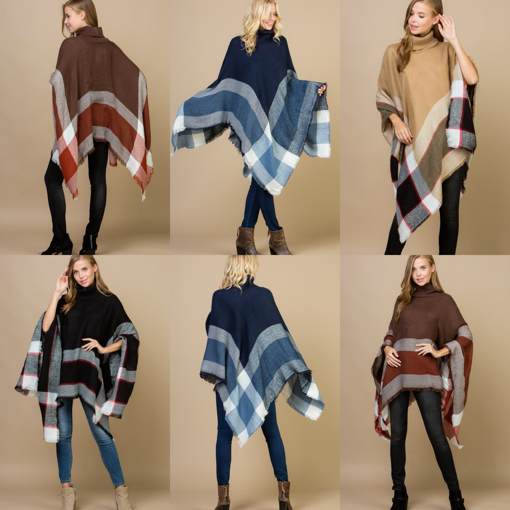 Pop of Plaid Turtleneck Poncho