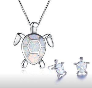 Turtle Fire Pendant Necklace & Earring Set