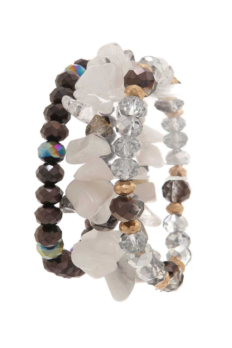 Natural Stone & Crystal Trio Bracelet Stack |2 colors|