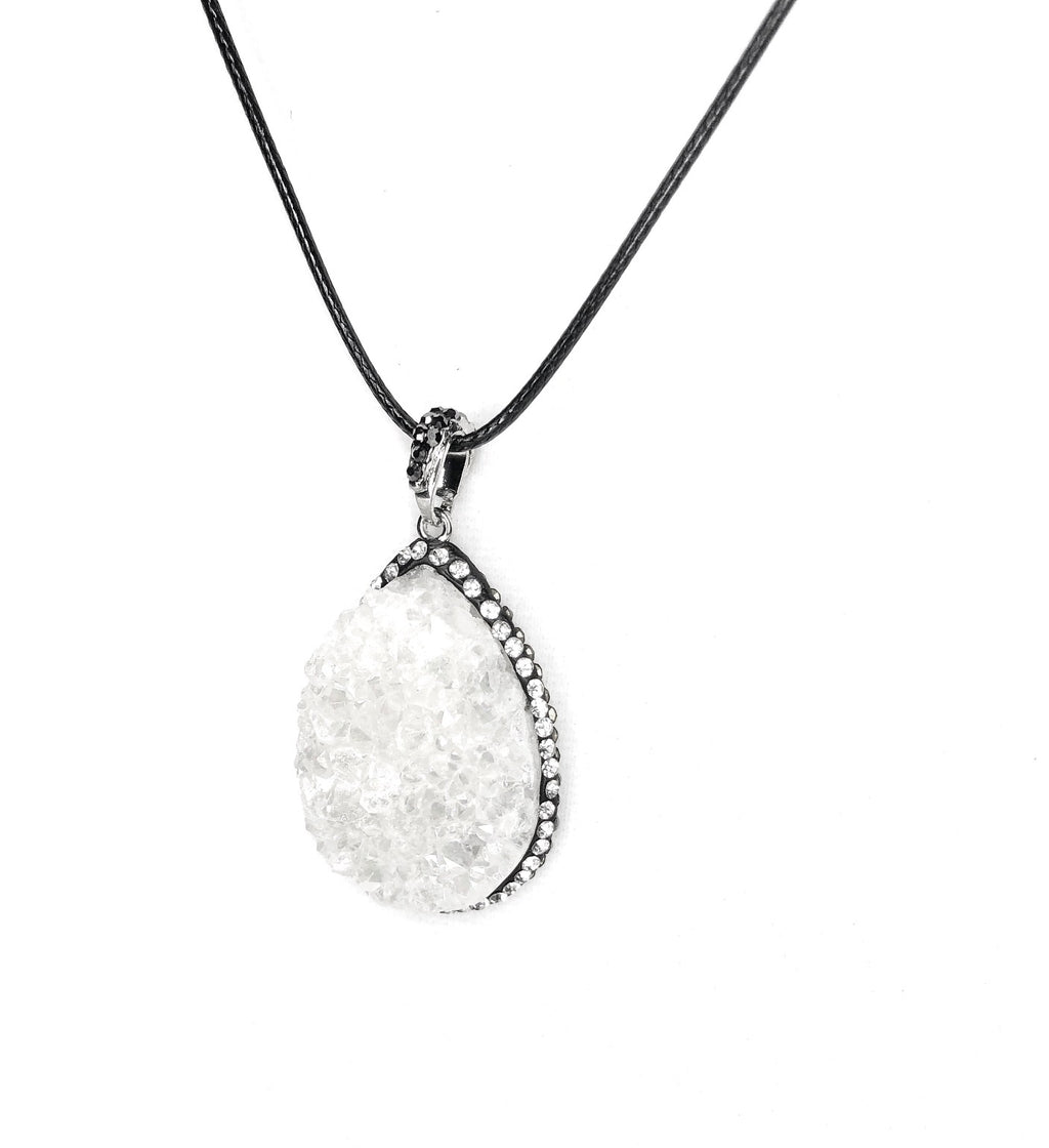 White Druzy Crystal Pendant Necklace
