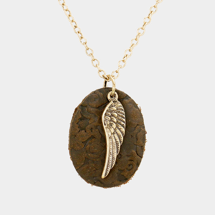 Leather Angel Wing Necklace