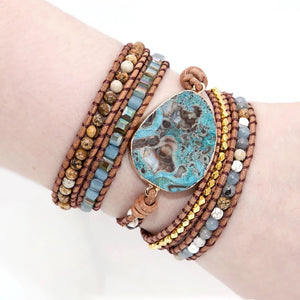 Ocean Jasper Leather Wrap Bracelet