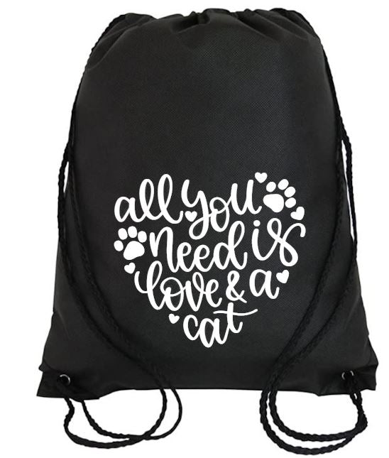 Cinch Bag: All You Need is Love & a Cat
