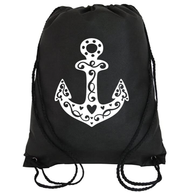 Cinch Bag: Anchor Hearts