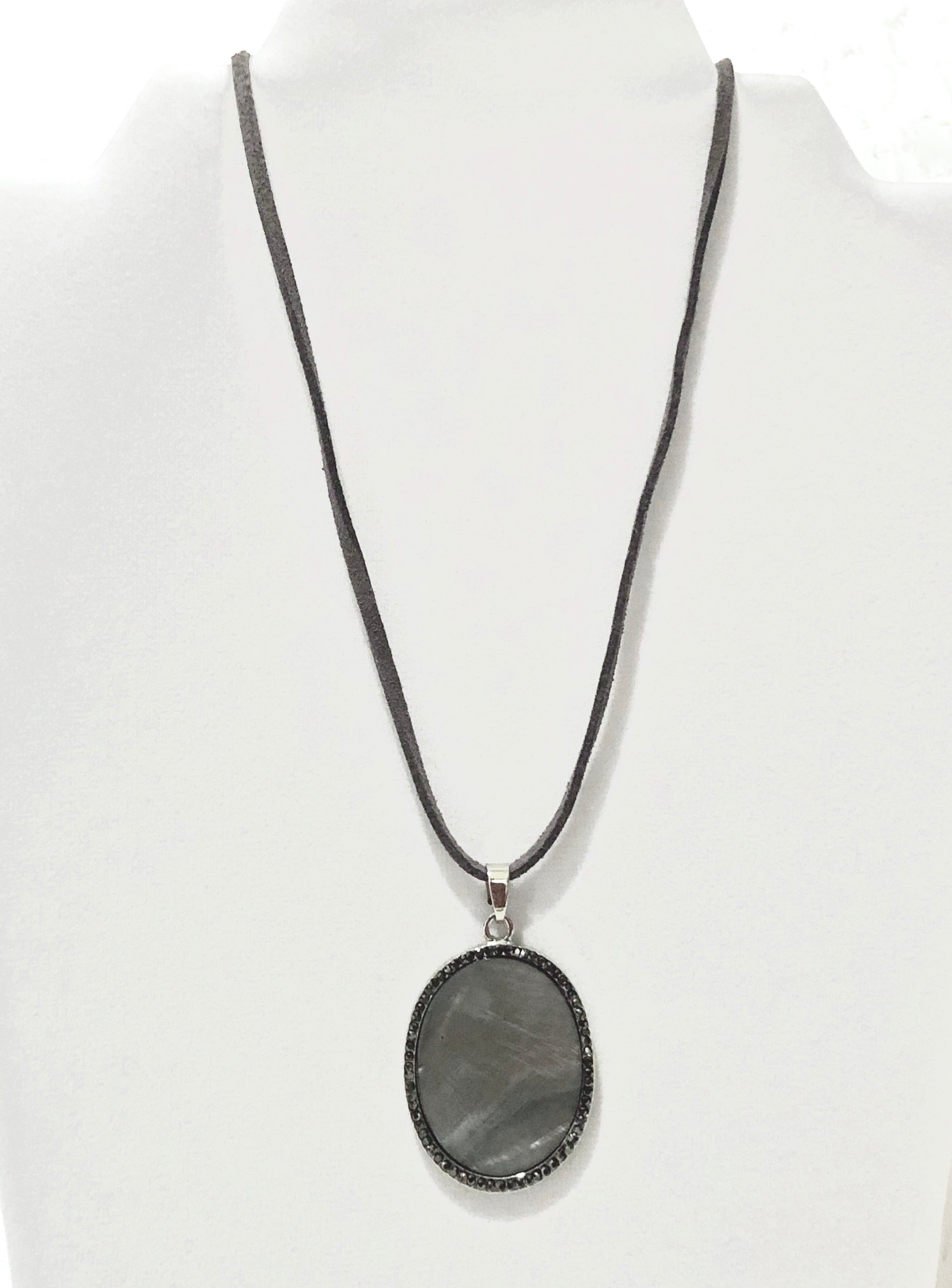 Grey Mother of Pearl Pendant Necklace