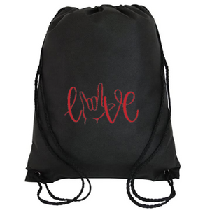 Cinch Bag: Love Sign Language