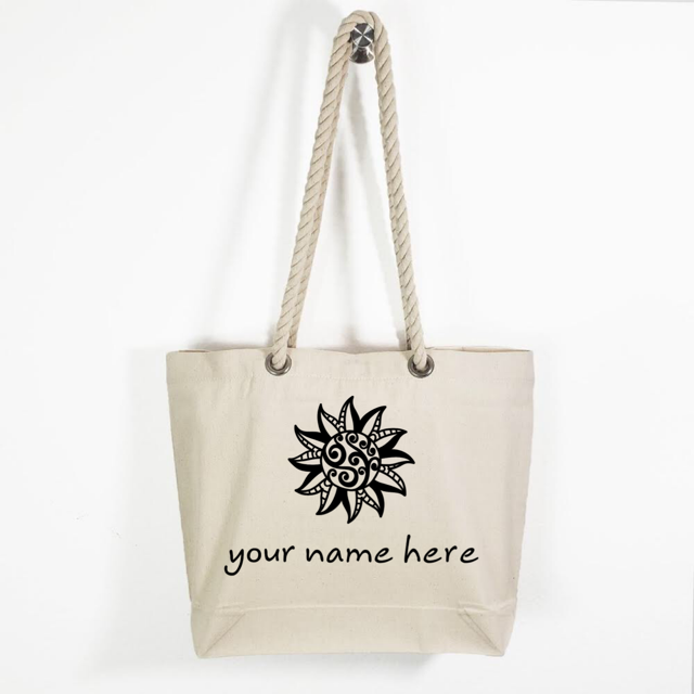 Canvas Rope Handle Tote Bag: Tribal Sun Personalized * Add your name