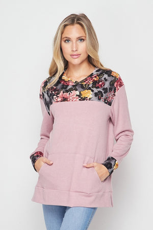 Leopard Floral Hooded Longsleeve Top with Pockets