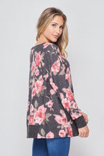 Love Me Some Pink Floral Fleece LongSleeve Top