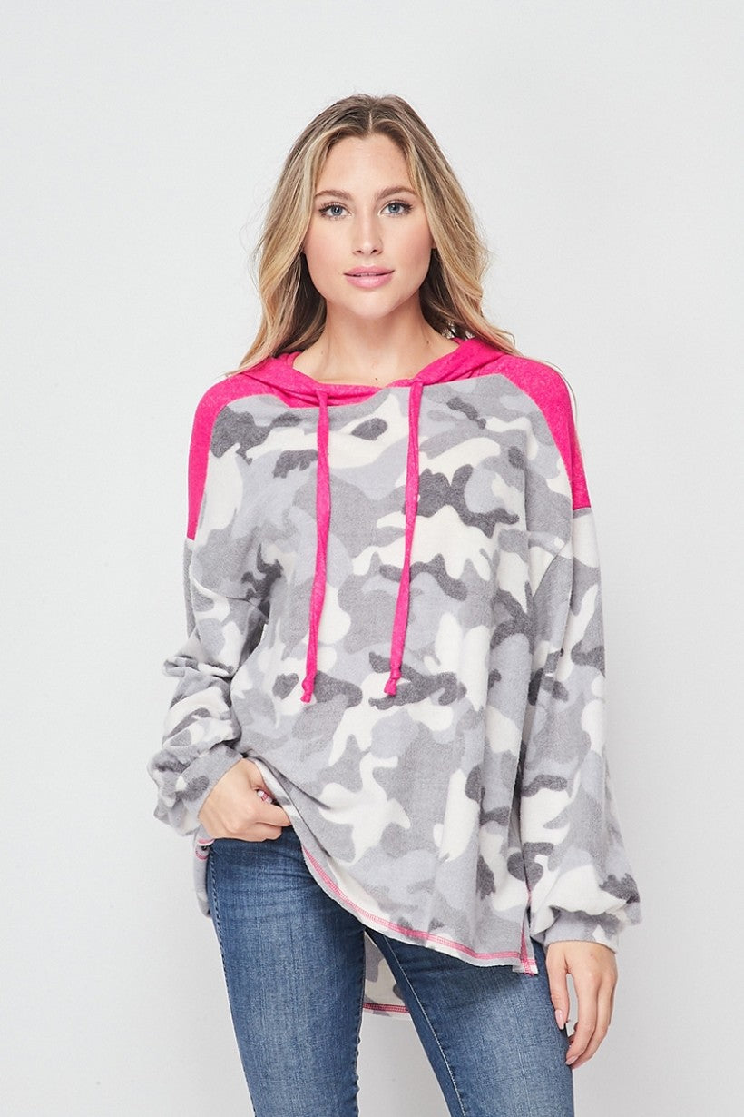 Pink Punch Grey Camo Fleece Hoodie