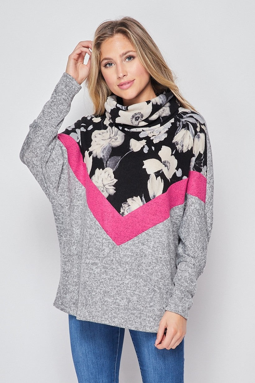 Pink Wildflower LongSleeve Sweater Top