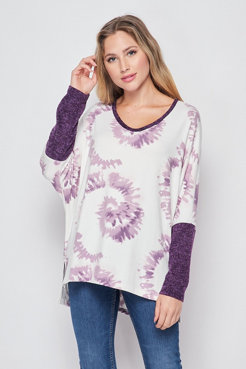 Purple Tie Dye Knit LongSleeve Top