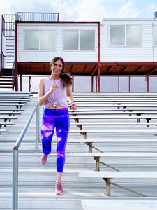 Brave Athleisure Ankle Legging 2XL Purple Tie Dye Galaxy