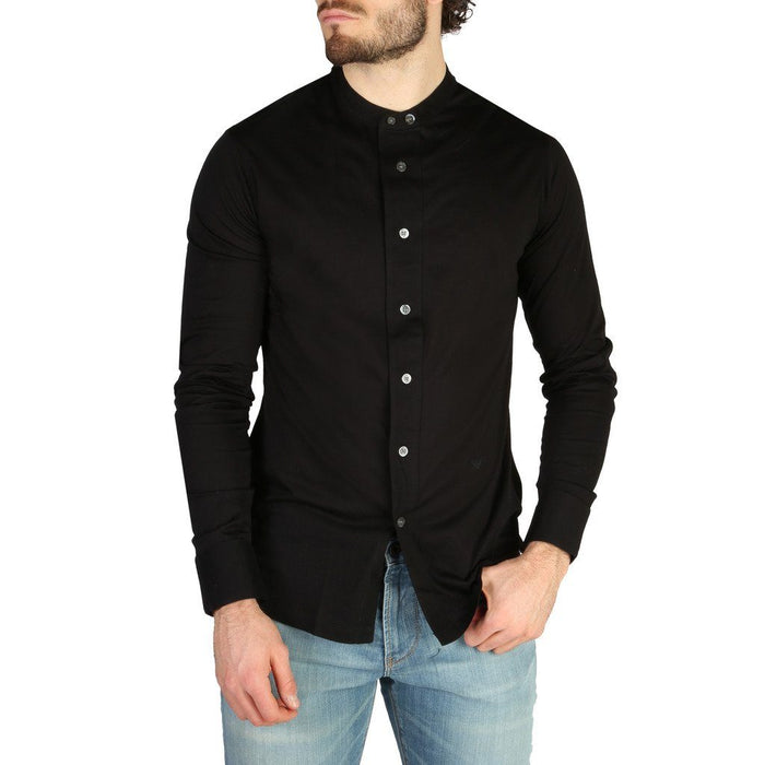 Emporio Armani Mandarin Collar Button Up Shirt, Black, , Men's