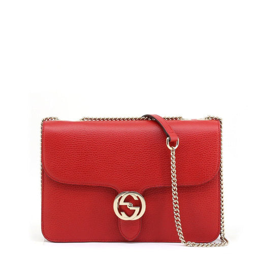 Gucci Pebbled Leather Crossbody Bag, Interlocking GG