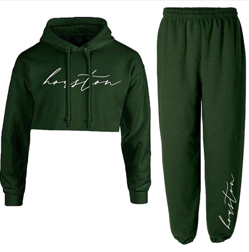 Green Cursive Custom City Hoodie & Sweats Set