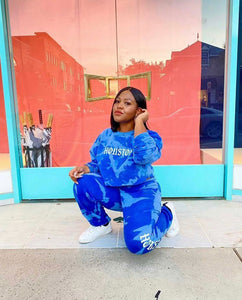 Blue Acid Wash Old London Houston Crewneck & Sweatpants Set