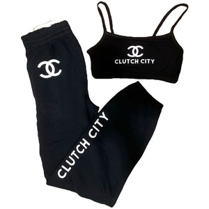 Black CC Sports Bra and Sweatpants Set