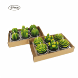 12pcs Succulent Cactus Home Candles Decor aplanter