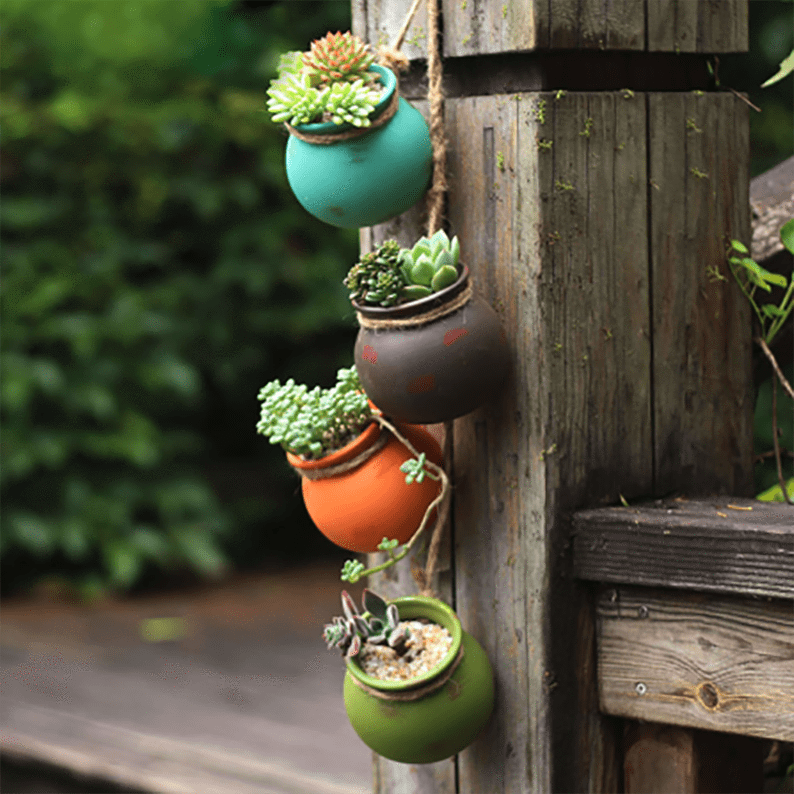 4pcs Wall-mounted Ceramic Hanging Flower Pots aplanter