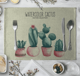 Cactus Family Dining Table Mat Linen Placemat Set A aplanter