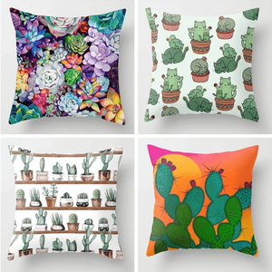 Cactus Succulent Plants Printed Cushion Cover B aplanter