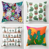 Cactus Succulent Plants Printed Cushion Cover B