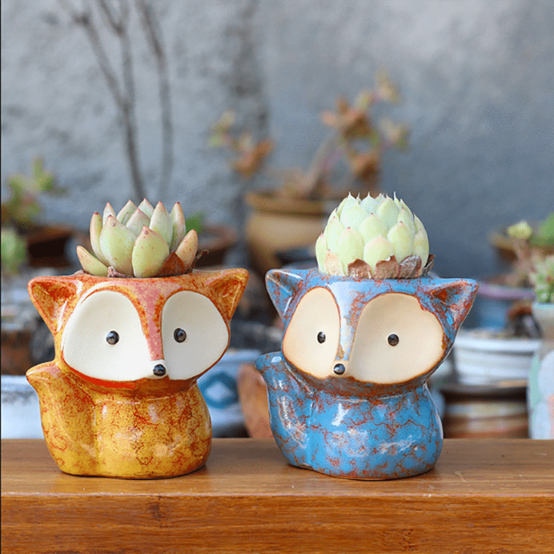 Ceramic Fox Planter Pots (Set Of 4) aplanter