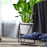 Geometric Iron Rack Holder Metal Stand with Ceramic Planter aplanter
