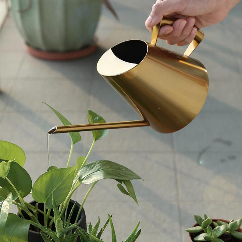 Gold Watering Can aplanter