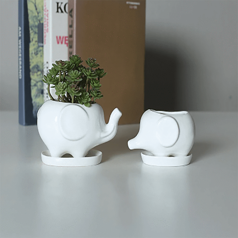 Set of 2 Cute Elephant White Ceramic Flower Pot with Tray aplanter