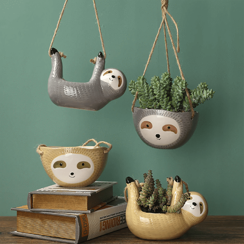 Wall Hanging Ceramic Sloth Flower Pot aplanter