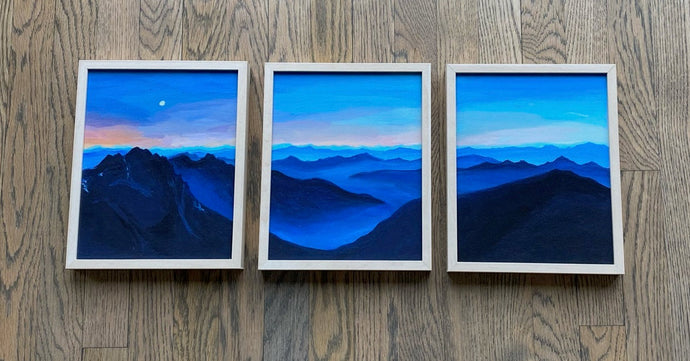 Mountains for Breakfast (triptych - frame not included)