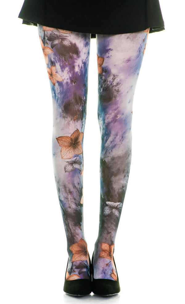 Tie-Dye & Golden Flower Full Foot Tights