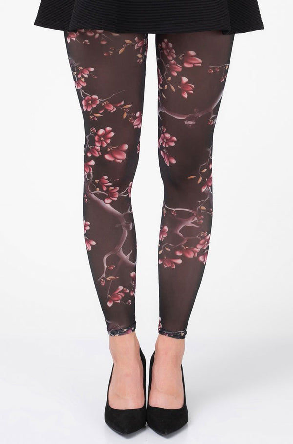 Cherry Bloom Footless Tights