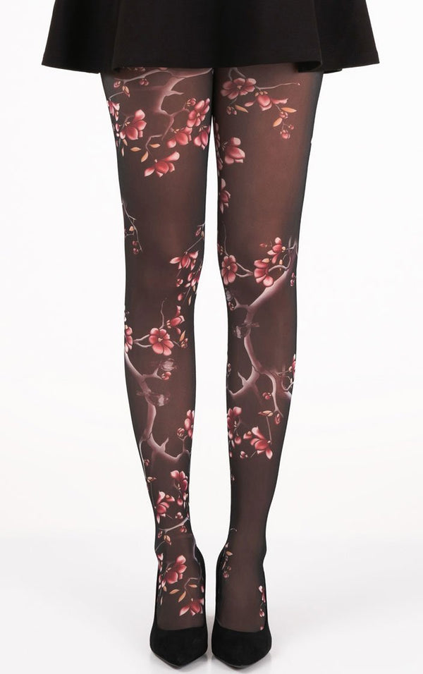 Cherry Bloom Full Foot Tights