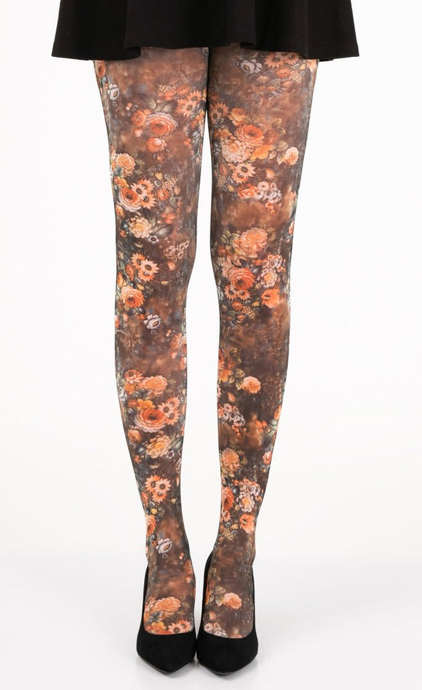 Flowers Art Bouquet Full Foot Tights