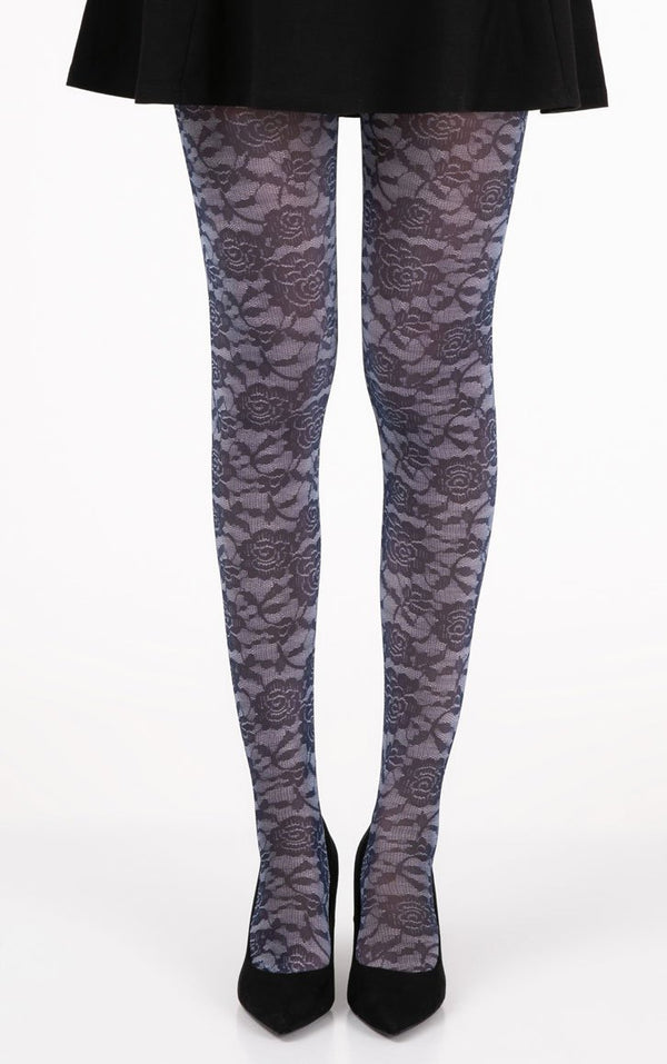 Floral lace D Blue Full Foot Tights