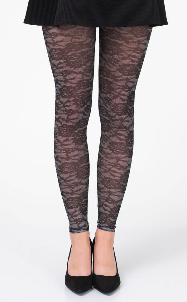 Floral Lace black & gray Footless Tights
