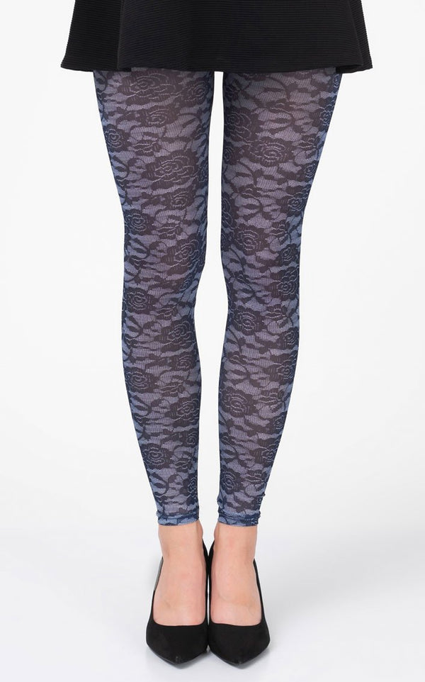 Floral lace D Blue Footless Tights