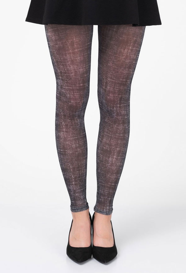 Rubbed Black Footless Tights