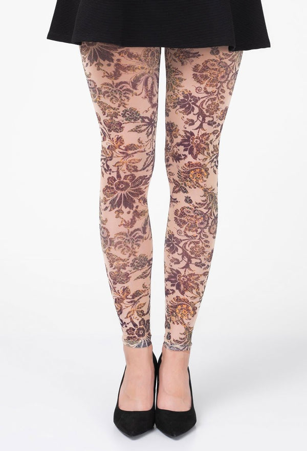 Vintage Floral Deco Footless Tights