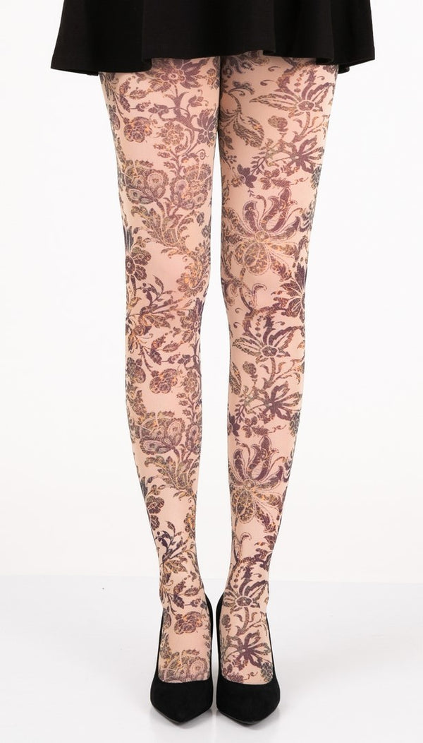 Vintage Floral Deco Full Foot Tights
