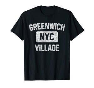 Greenwich Village T Shirt - Gym Style Distressed White Print