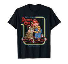 Cargar imagen en el visor de la galería, Funny-Caring-For-Your-Demon-Cat-t-shirt the girl love cat