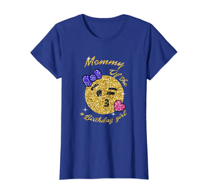 Mommy Of The Birthday Girl Emoji Kiss Kissy Face Gold Tee
