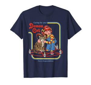 Funny-Caring-For-Your-Demon-Cat-t-shirt the girl love cat